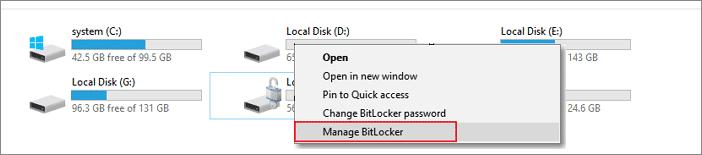 Select the option 'Manage BitLocker'