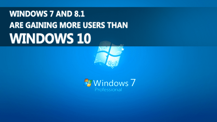 Windows 7 And 8.1 Are Gaining More Users Than Windows 10