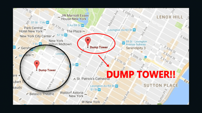 Google Maps Shows Trump Tower As