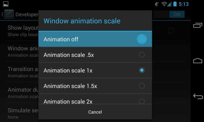 Reduce or Turn Off Animations