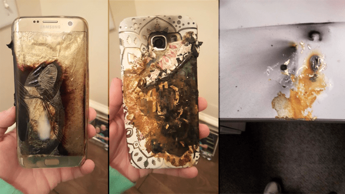 Samsung Galaxy S7 Edge Explodes On Woman's Desk