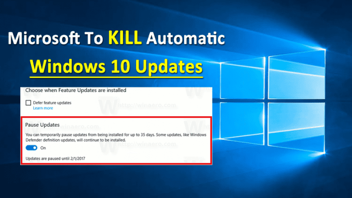 Finally Microsoft To Kill Automatic Windows 10 Updates