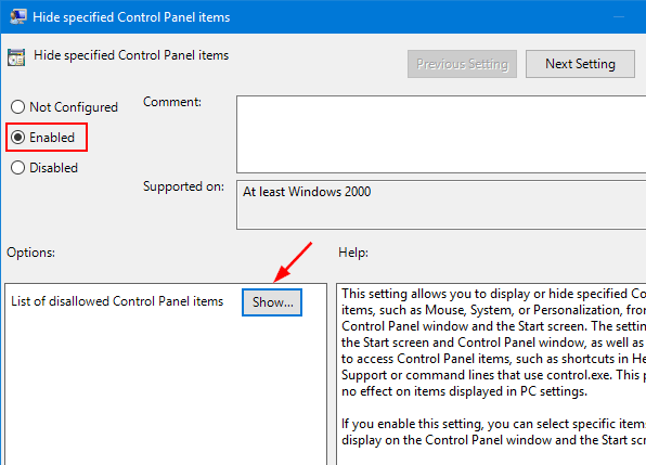 enable the 'Hide Specified Control Panel Items' option