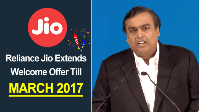 Hurray! Reliance Jio Extends Welcome Offer Till March 2017