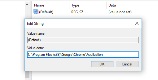 Enter the URL of the executable file on the 'Value data' box