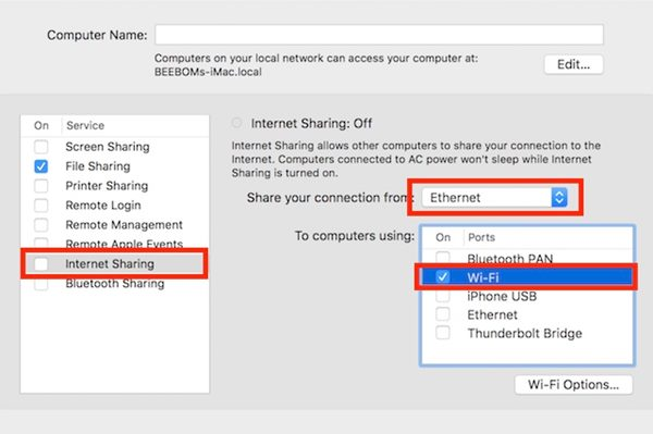 Share Internet From Mac over Wifi or Ethernet