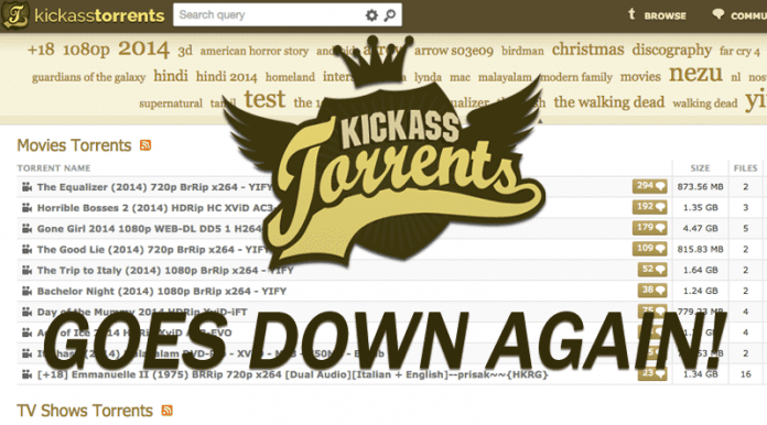 KickassTorrents After Coming Back To Life, Goes Down Again!