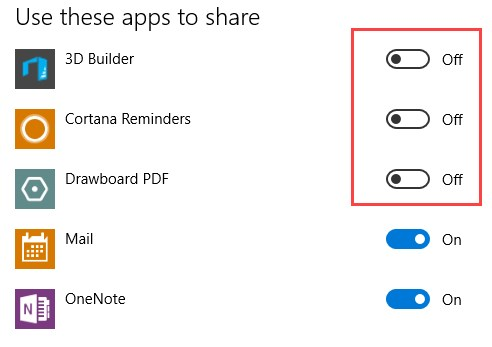 Enable Share Settings Option in the Windows 10 Settings App