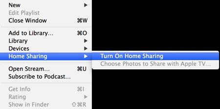 Setup iTunes Home Sharing