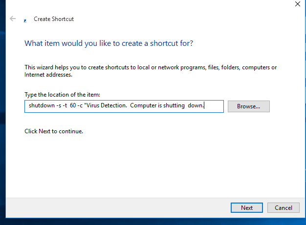 Shutdown virus