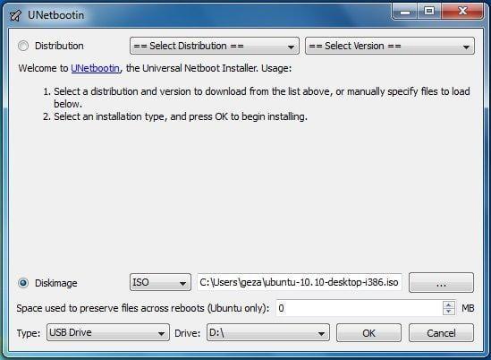 Using UNetbootin