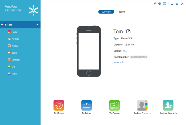 Using FonePaw iOS Transfer