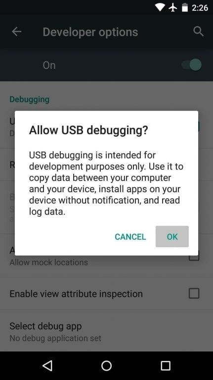 habilitar depuración de USB'