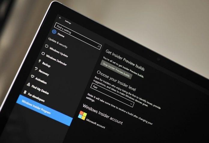 Windows 10 Insider Program Fast Ring