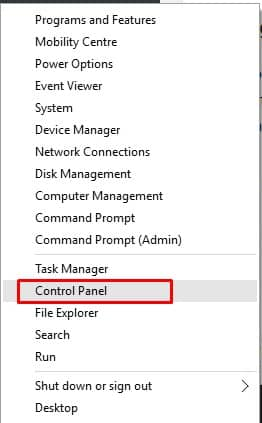 Select 'Control Panel'