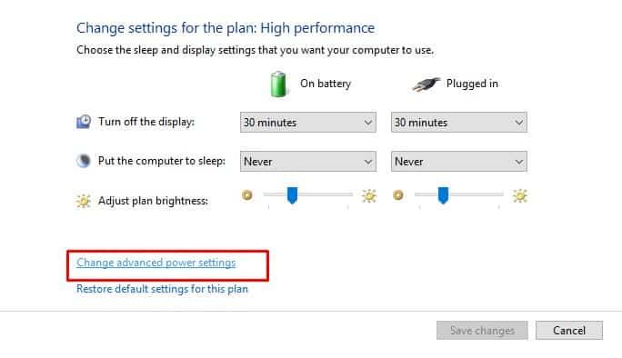 Click on 'Change advanced power settings'