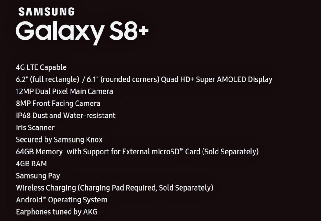 Galaxy S8+ Features