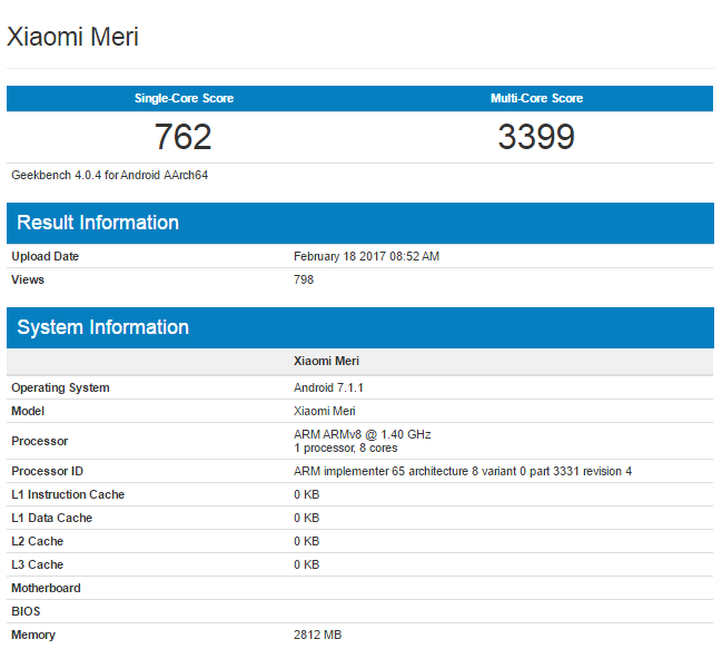 Meri - Xiaomi Meri Again Spotted At Geekbench Running On Android 7.1 Nougat
