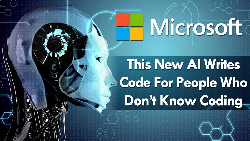 Immagine di un robot che rappresenta l'intelligenza artificiale con la scritta microsoft