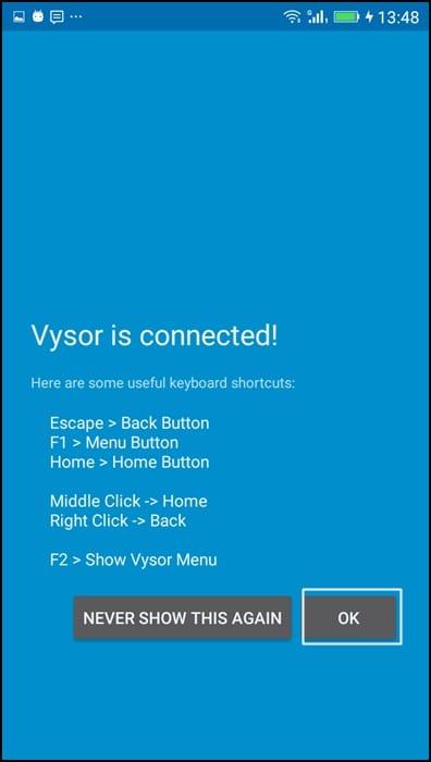 Using Vysor