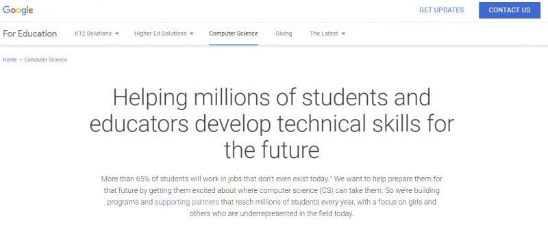 Google's Education Website