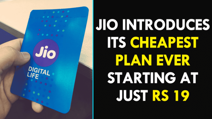 Reliance Jio Launched Its Cheapest Plan Ever! Get Free Services At Rs 19!