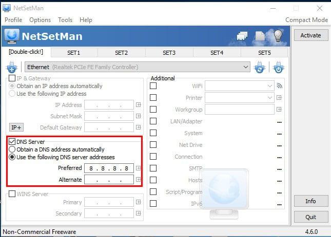 Using NetSetMan
