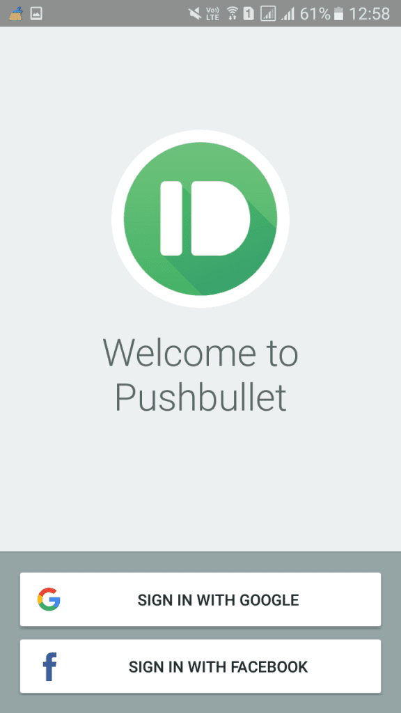 Sign in to the Pushbullet