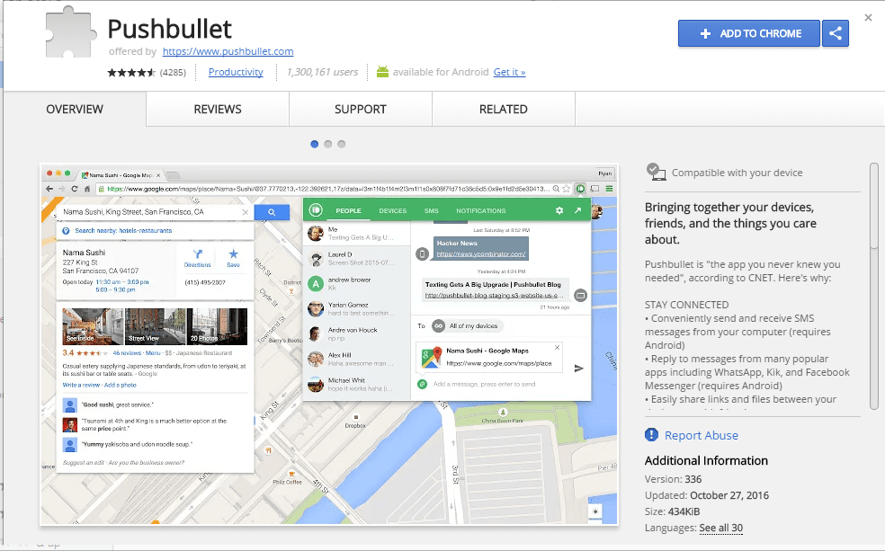 Install Pushbullet extension