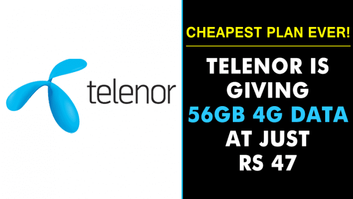 Remember Telenor? It Is Giving 56GB 4G Data At Rs 47!