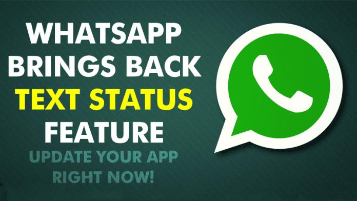 WhatsApp Brings Back