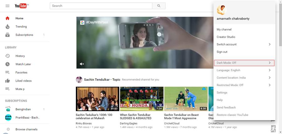 Activate YouTube's Secret Dark Mode