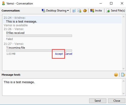 Send files and messages over Office LAN privately