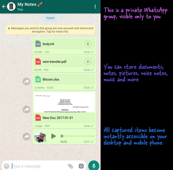 Use WhatsApp as a Private Store for your Documents and Notes