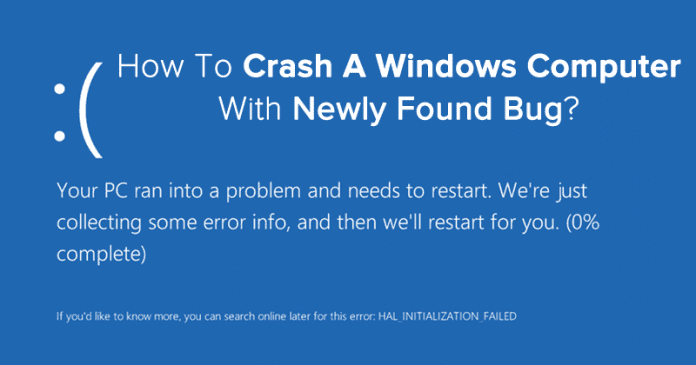 This New Bug Can Crash Any PC Running Windows 7, 8 or Vista