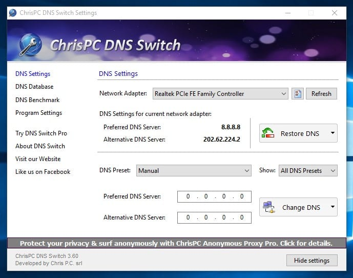 Using ChrisPC DNS Switch