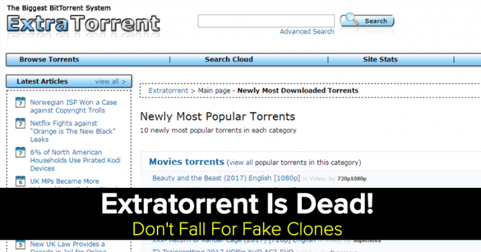 Extratorrent Is Dead! Don't Fall For Fake Clones