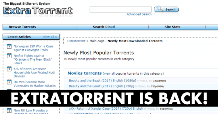 Extratorrent Is Back Again! Now Running One A New Domain