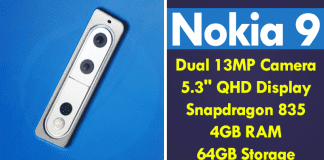 """Nokia 9 To Feature Dual 13MP Camera, 5.3"""" QHD Display, Snapdragon 835"""