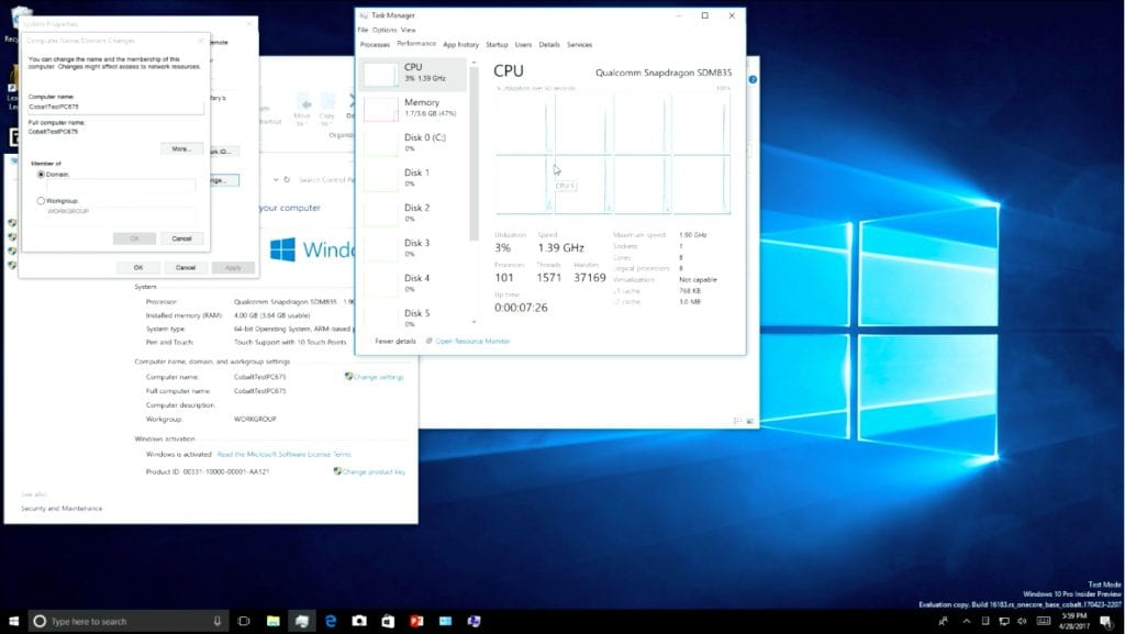 Windows 10 1024x577 - Finally! Windows 10 Running On Qualcomm Snapdragon 835 Processor