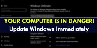 Your Computer Is In Danger! Update Windows Immediately