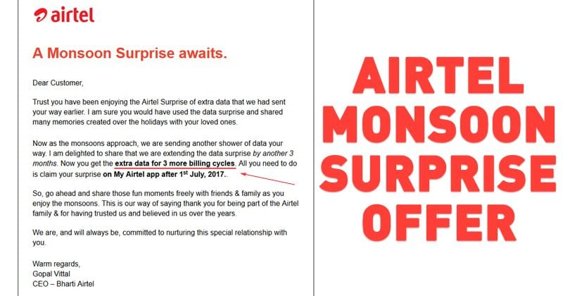 Airtel Monsoon Surprise Offer