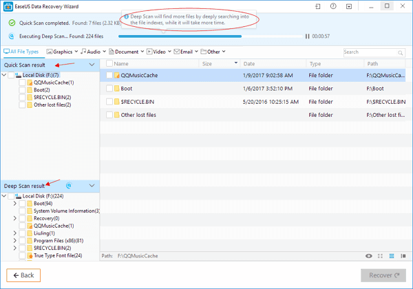 Using EaseUS Data Recovery