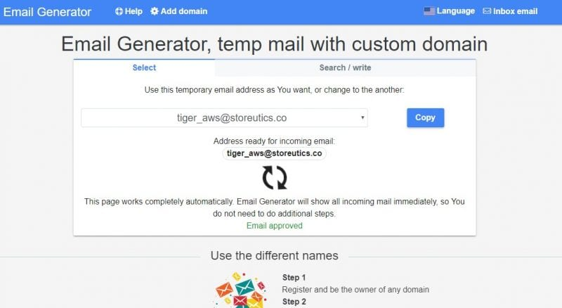 how to create fake email address within seconds