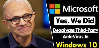 Microsoft: Yes, We Did Deactivate Third-Party Anti-Virus In Windows 10