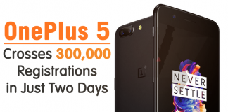 OnePlus 5 Crosses 300,000 Registrations in Just Two Days