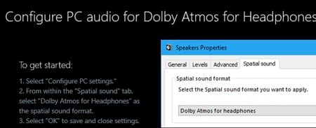 Use Dolby Atmos Surround Sound on Windows 10