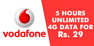 Vodafone Offers 5 Hours Unlimited 4G Data At Just Rs. 29