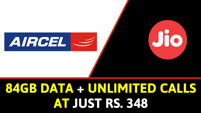 Jio Effect: Aircel Offers 84GB Data, Unlimited Calls At Rs. 348