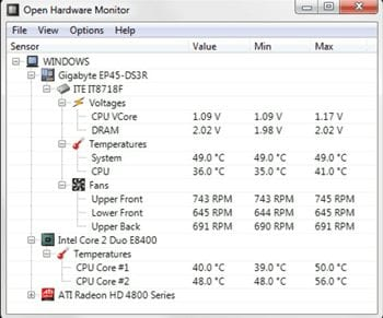 Check the CPU temperature on the Windows 10